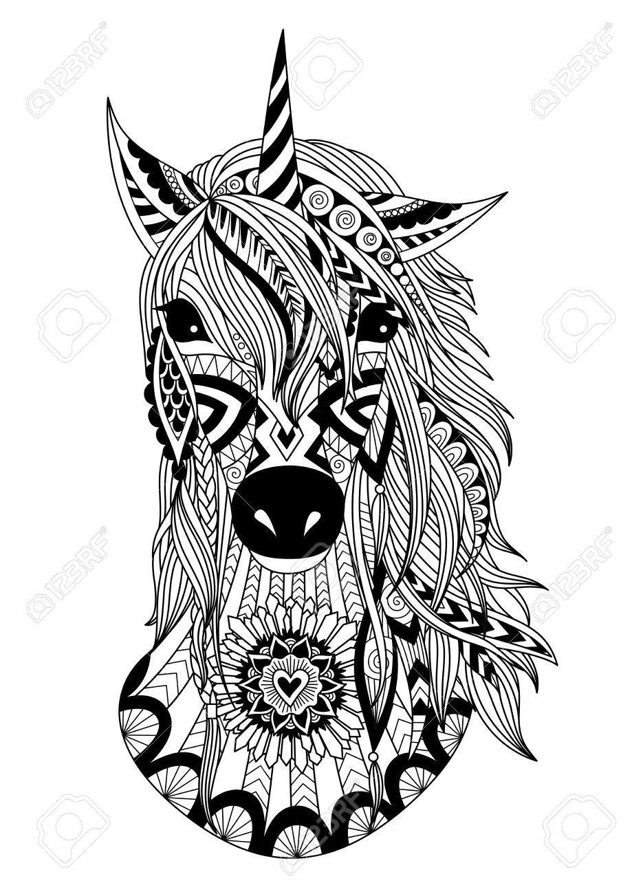Zendoodle Design Of Unicorn Heard For T Shirt Designdesign Element