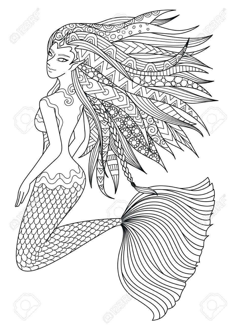 Hermosa Sirena Nadando En El Diseño Del Océano Para La Página De ...