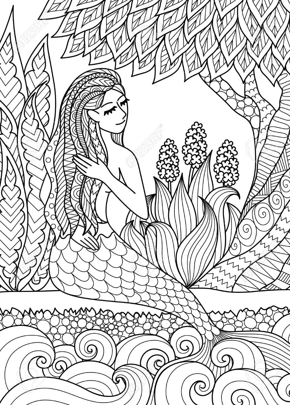 La Sirena Bonita Que Se Sienta Por El Río Arregla Su Pelo, Diseño ...