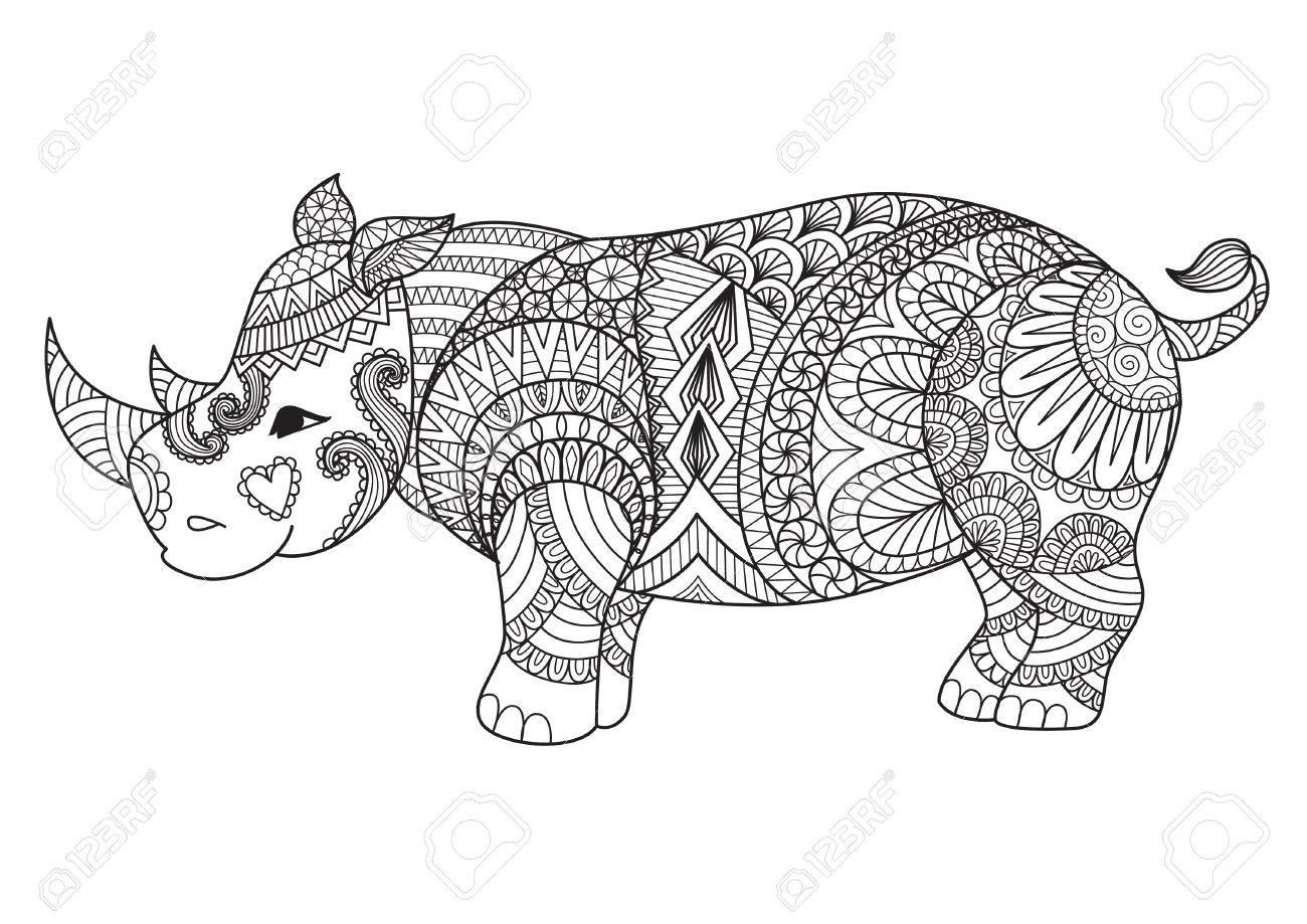 Coloriage En Ligne Rhinoceros.Dessin Zentangle Rhino Pour La Page De Coloriage Effet De Conception De Chemise Logo Tatouage Et Decoration