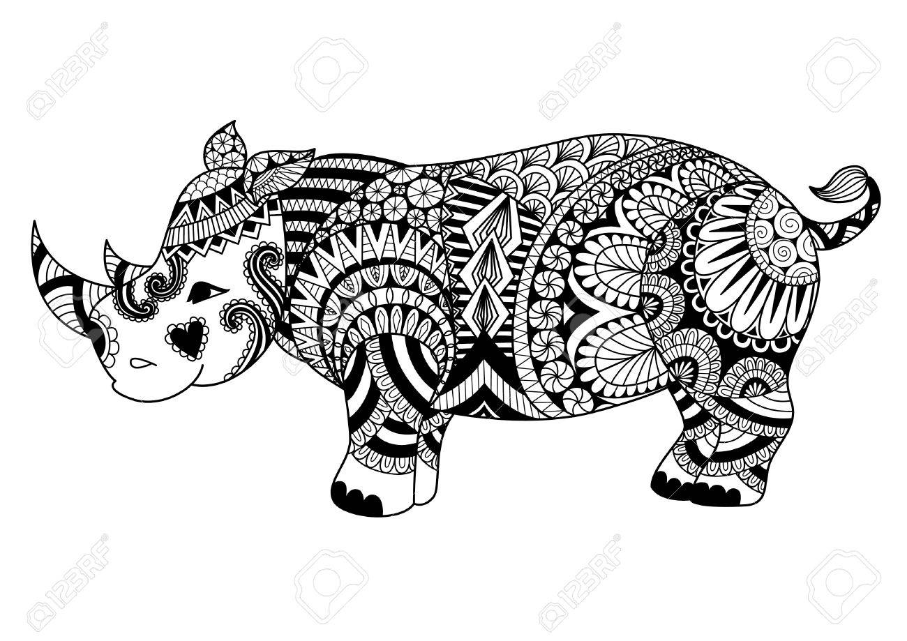 Drawing Zentangle Rhino For Coloring Page, Shirt Design Effect ...