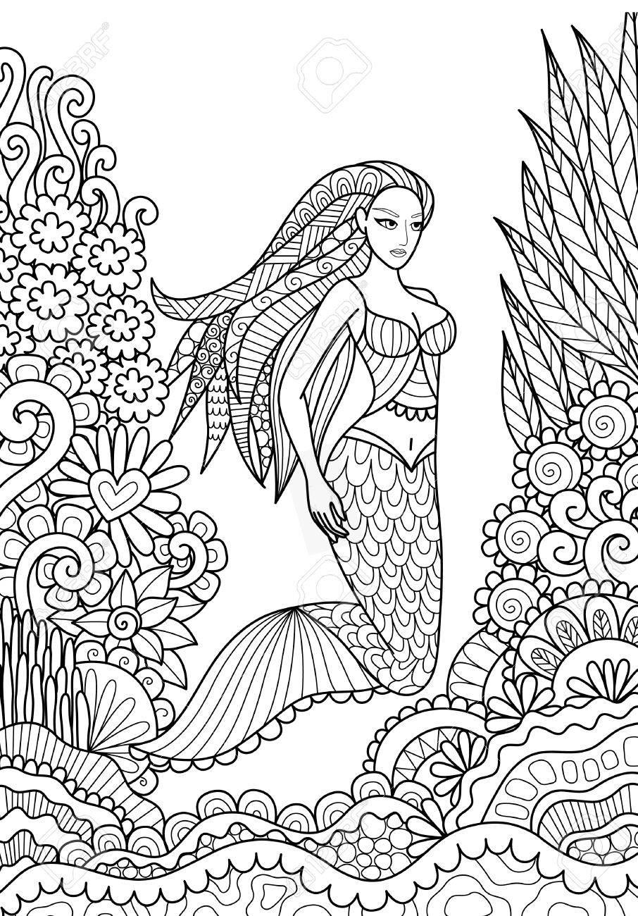 Bastante Sirena Nadando En El Océano Para Adultos Página Para Colorear Ilustración Del Vector