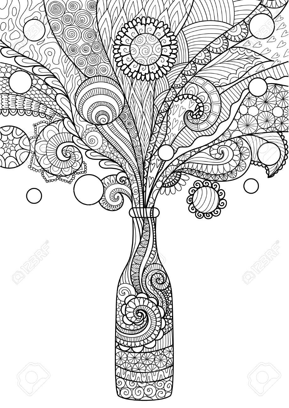 Zendoodle Design Of Beer Bottle For Element And Adult Or Kids Coloring Book Page