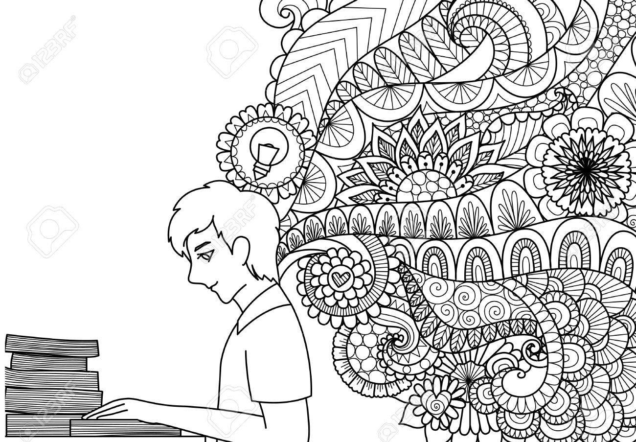 Líneas De Diseño De Arte De Libros De Lectura De Hombre Con Ideas De