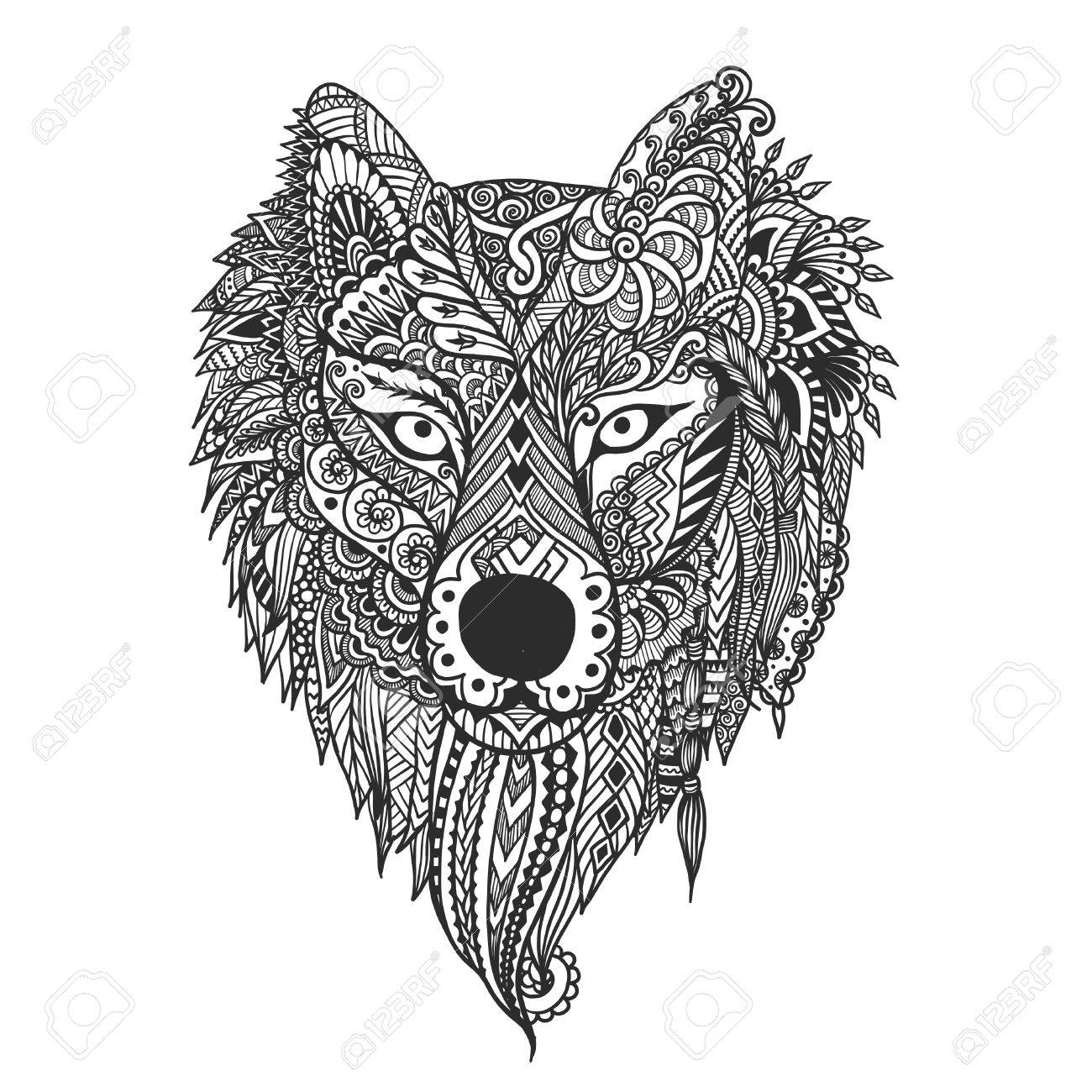 hand drawn wolf face for t shirt design and other design element vector illustration stock
