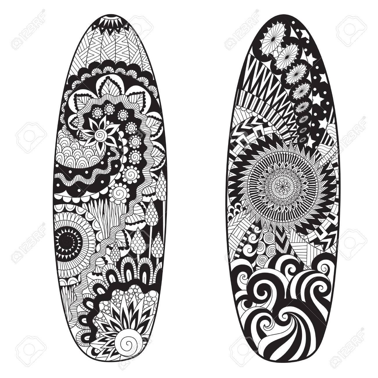 Conception D Art En Ligne De Deux Planches De Surf Pour L Element De Design Et La Page De Coloriage Pour Adultes Clip Art Libres De Droits Vecteurs Et Illustration Image 83684477