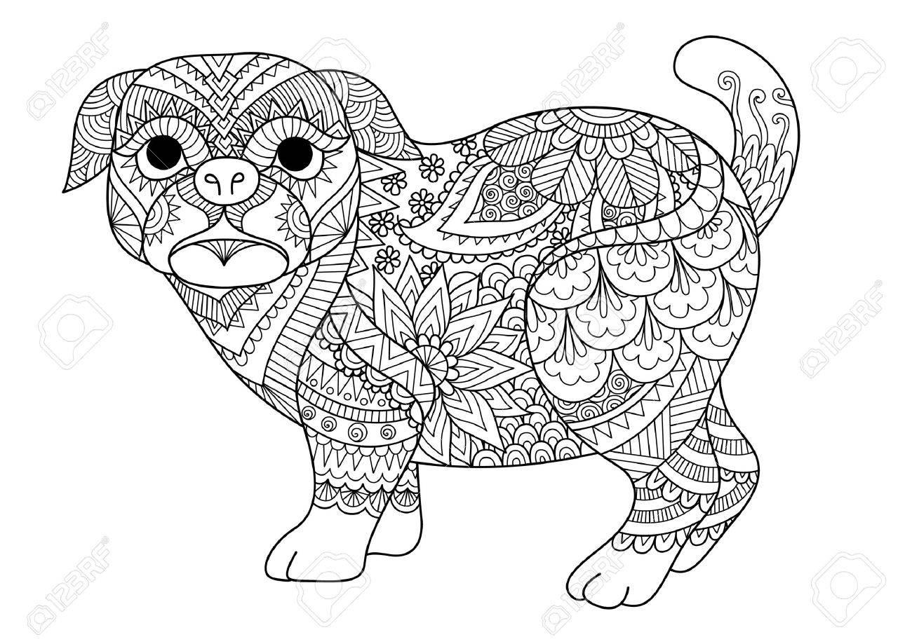 Diseño De Arte Lineal De Lindo Perro Pug Para Elemento De Diseño ...
