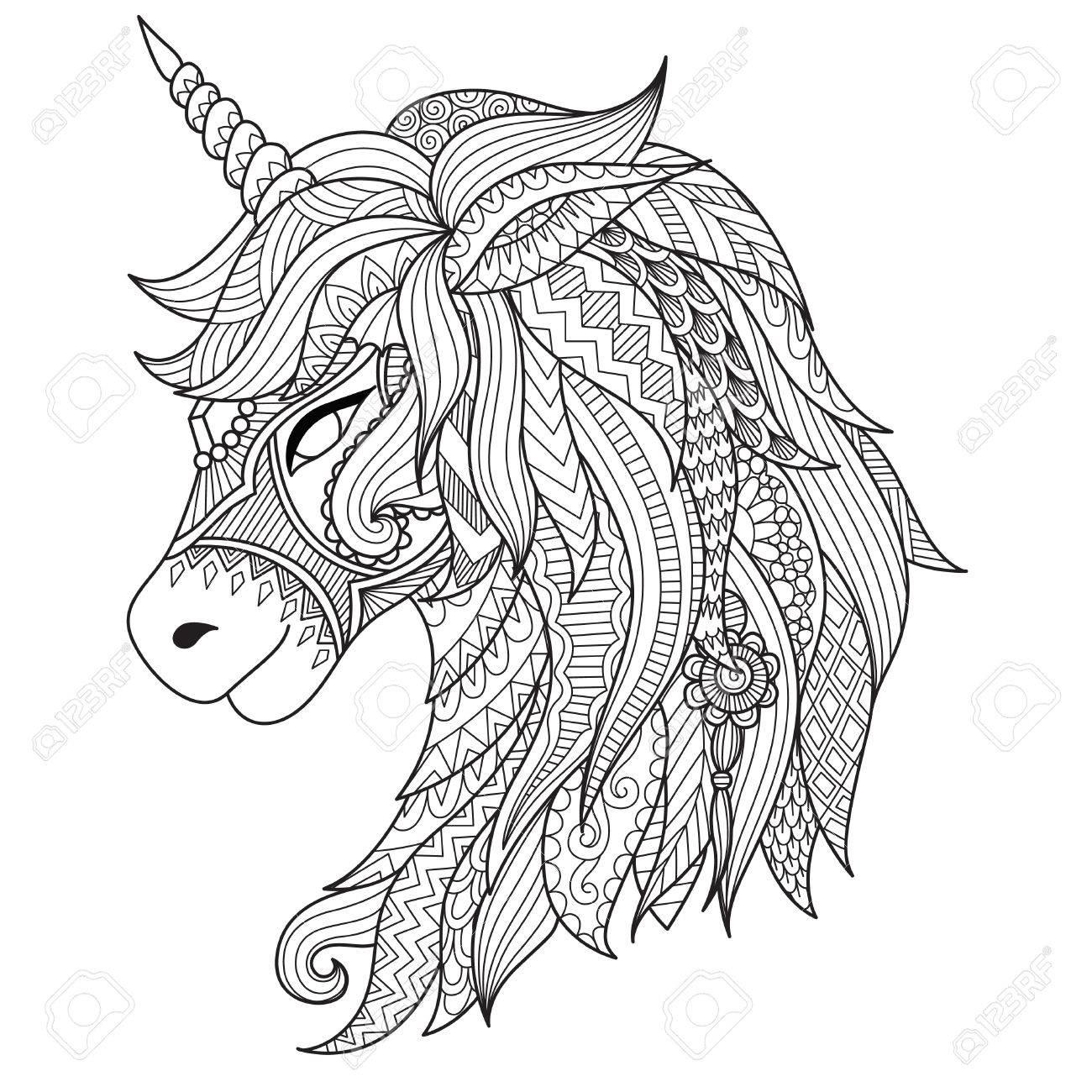 Dibujo Estilo Del Zentangle Unicornio Para Colorear Tatuaje Diseño