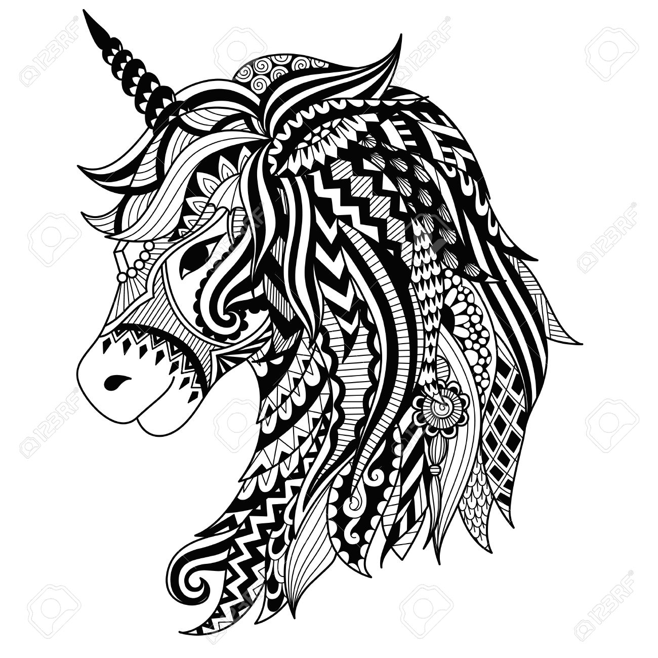 Drawing unicorn zentangle style for coloring book, tattoo, shirt design, logo, sign. stylized illustration of horse unicorn in tangle doodle style. - 83948002