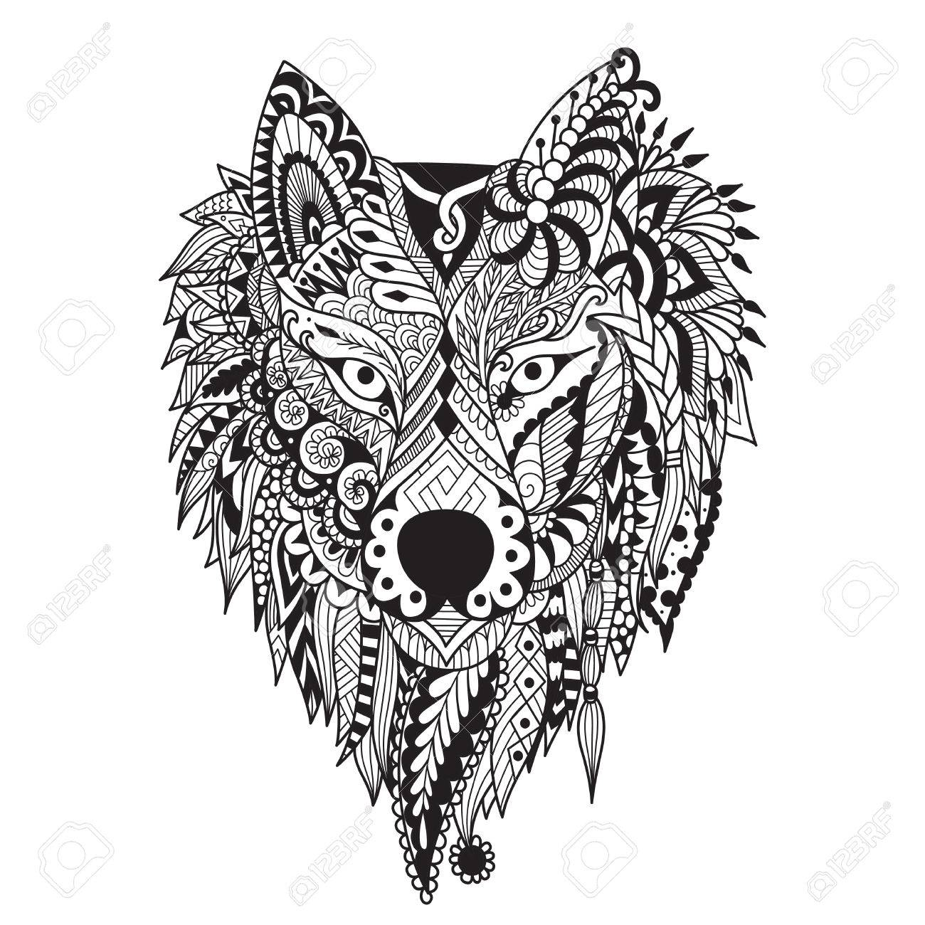zendoodle stylize of dire wolf design for tattoo bag mug pillow