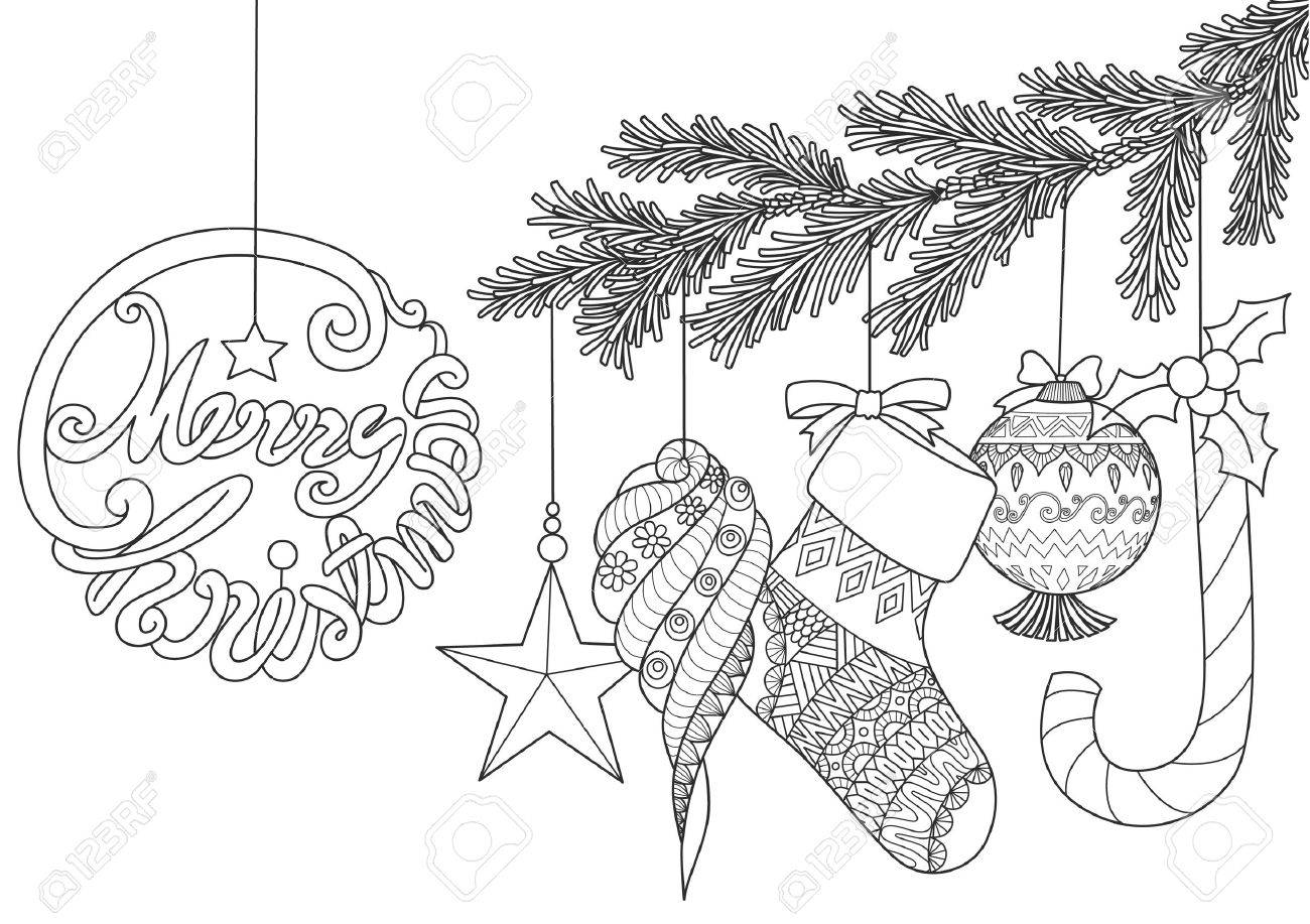 Christmas Ornamentals For Adult Coloring Book Pages Vector Illustration Royalty Free Cliparts Vectors And Stock Illustration Image 84438577