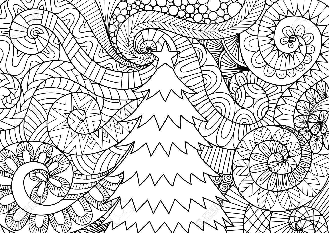 Diseño De Arte Lineal De Desplazamiento De La Tormenta Y árbol De ...