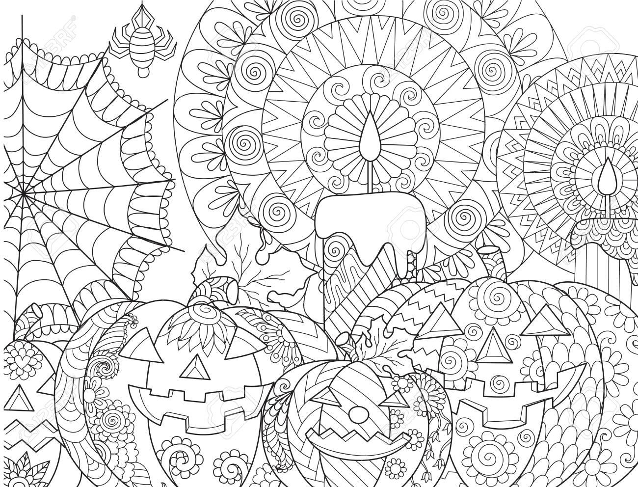 Citrouille Dhalloween Bougies Araignée Toile Daraignée Pour La Page De Livre Pour Colorier Pour Adultes Et élément De Conception Illustration