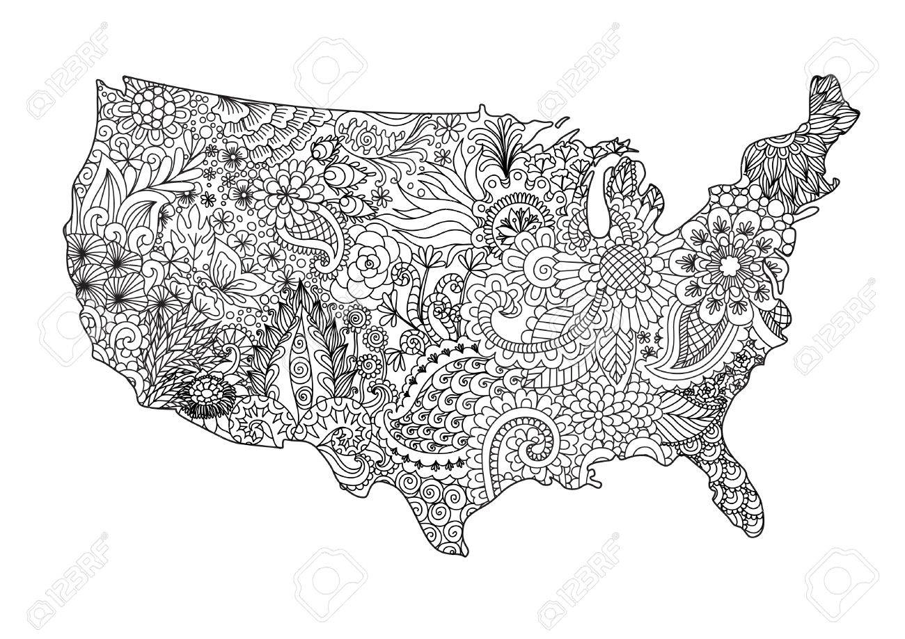 Coloriage Usa.Floral Usa Map For Design Element And Adult Coloring Book Page