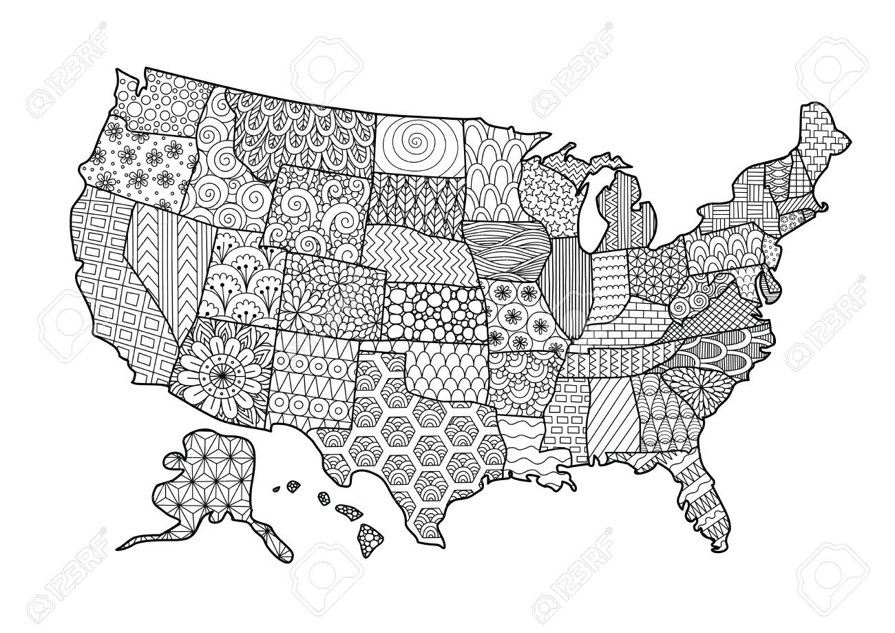 Floral USA map for design element and adult coloring book page...