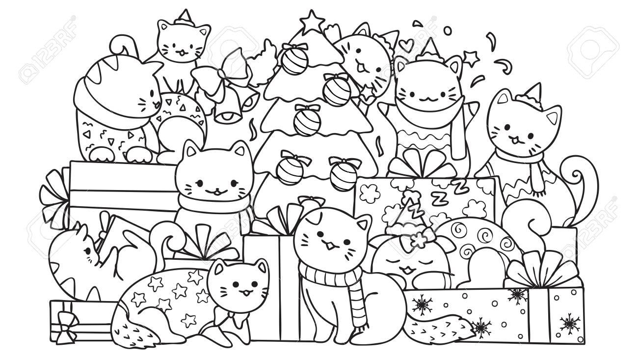 Coloriage Chat Cadeau.Chats Mignons Avec Des Boites Cadeaux Et Arbre De Noel Pour La Page D Element De Design Et De Coloriage Pour Les Enfants Illustration Vectorielle