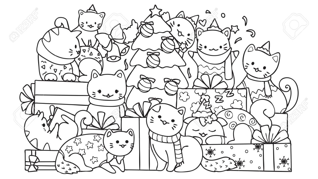 Cute Cats With Gift Boxes And Christmas Tree For Design Element ...