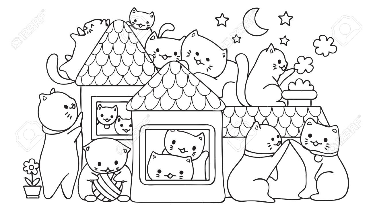 Hand Drawn Cute Cats Playing In The House At Night For Design Royalty Free Cliparts Vectors And Stock Illustration Image 90846367