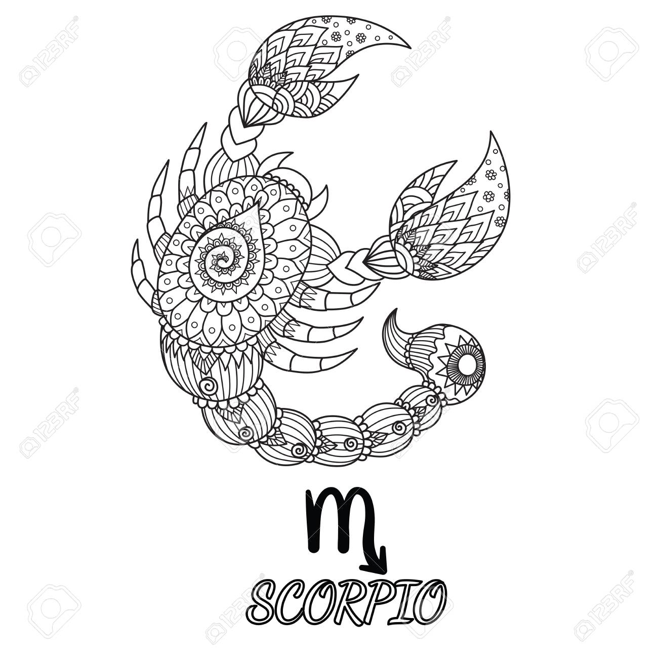 Zen doodle design of Scorpio zodiac sign for design element and adult coloring book page. Stock Vector - 92827655