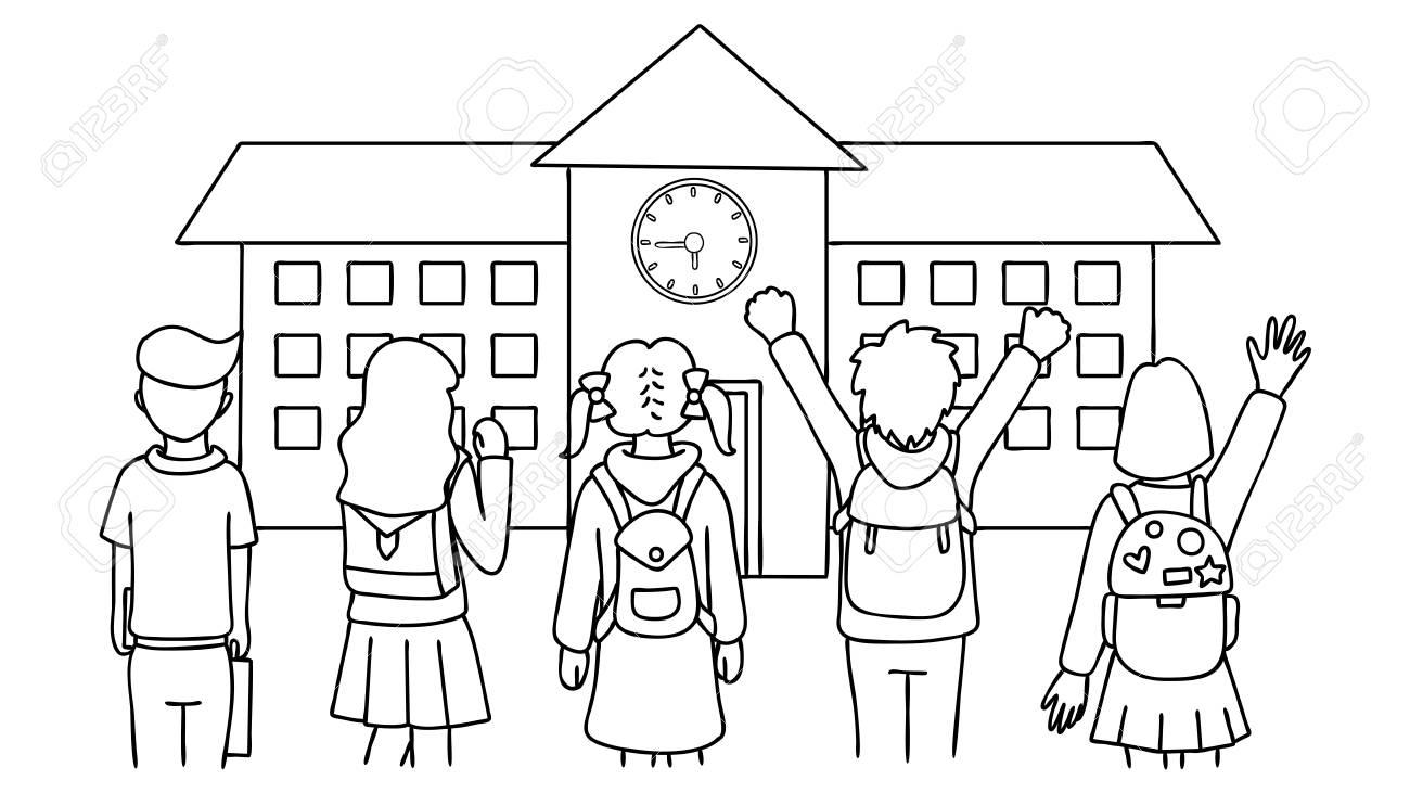Dessinés à La Main Des élèves Debout Devant L école La Rentrée Des Classes Pour L élément De Conception Et La Page Du Livre De Coloriage Pour Les
