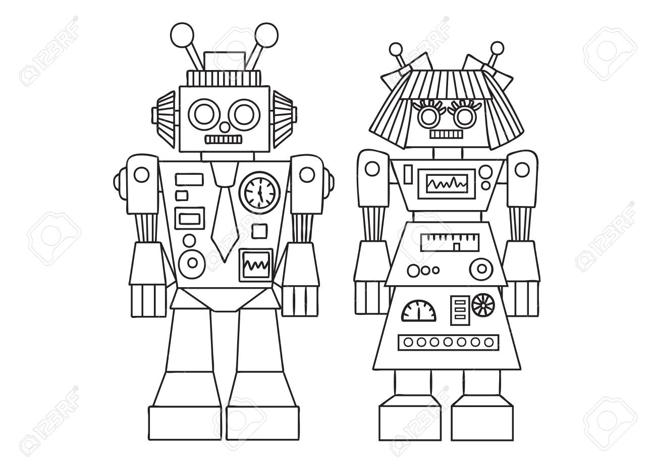 Hand Drawn Cute Robot For Design Element And Coloring Book Page ...