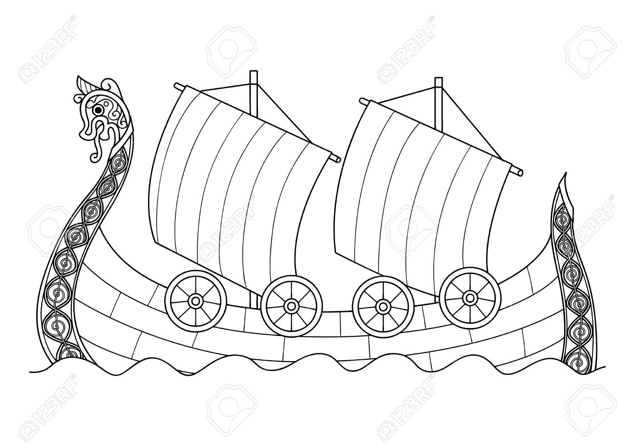 Hand Drawn Viking Ship For Coloring Book Page For Both Adult