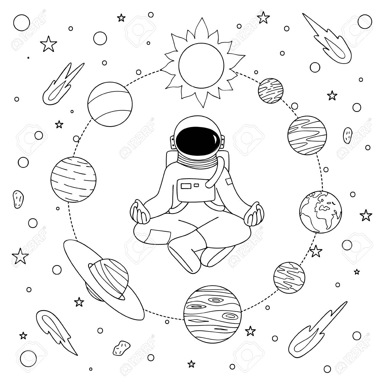 Hand drawn astronoaut doing meditation among solar system for..