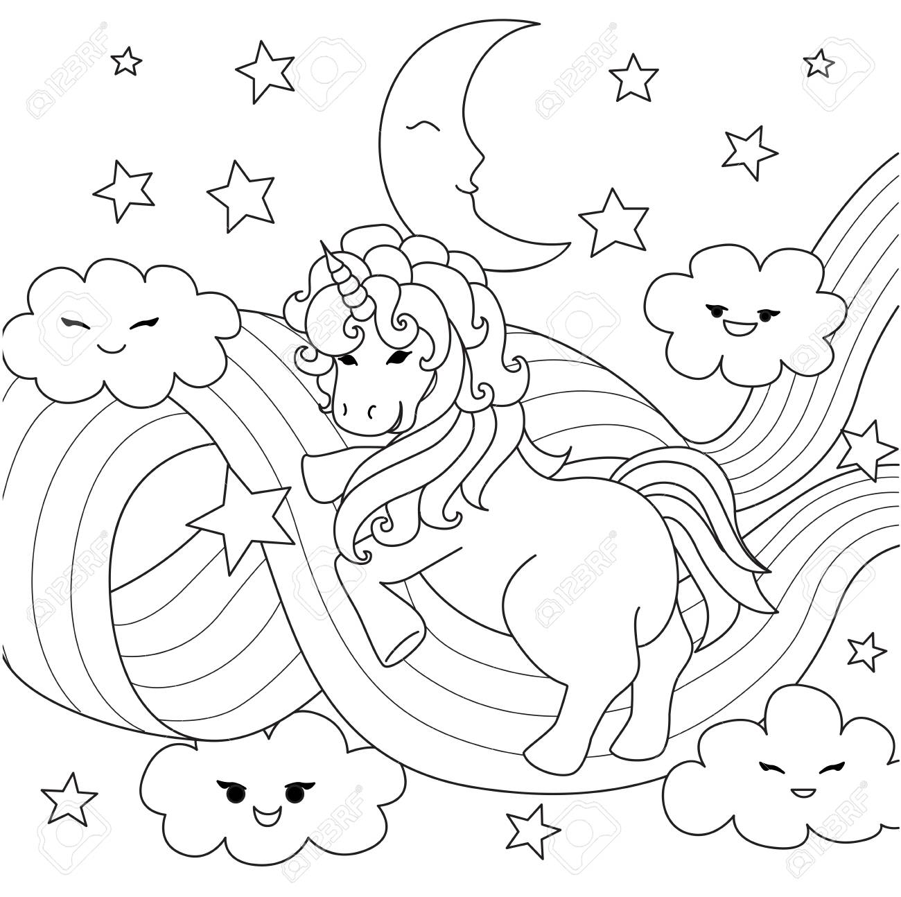 Unicorn Playing With Rainbow Path For Design Element And Coloring Royalty Free Cliparts Vectors And Stock Illustration Image 104096840