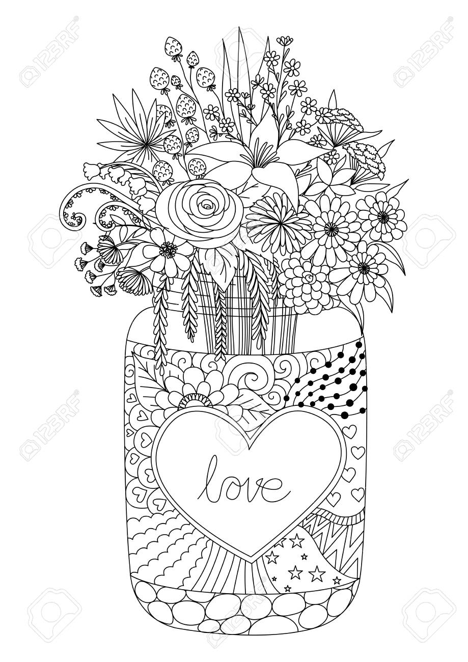 Line Art Design Of Flowers On A Mason Jar For Engraving Valentines