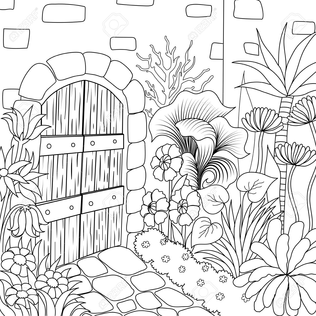 Simple line art of beautiful garden for coloring book page. Vector illustration - 105957386