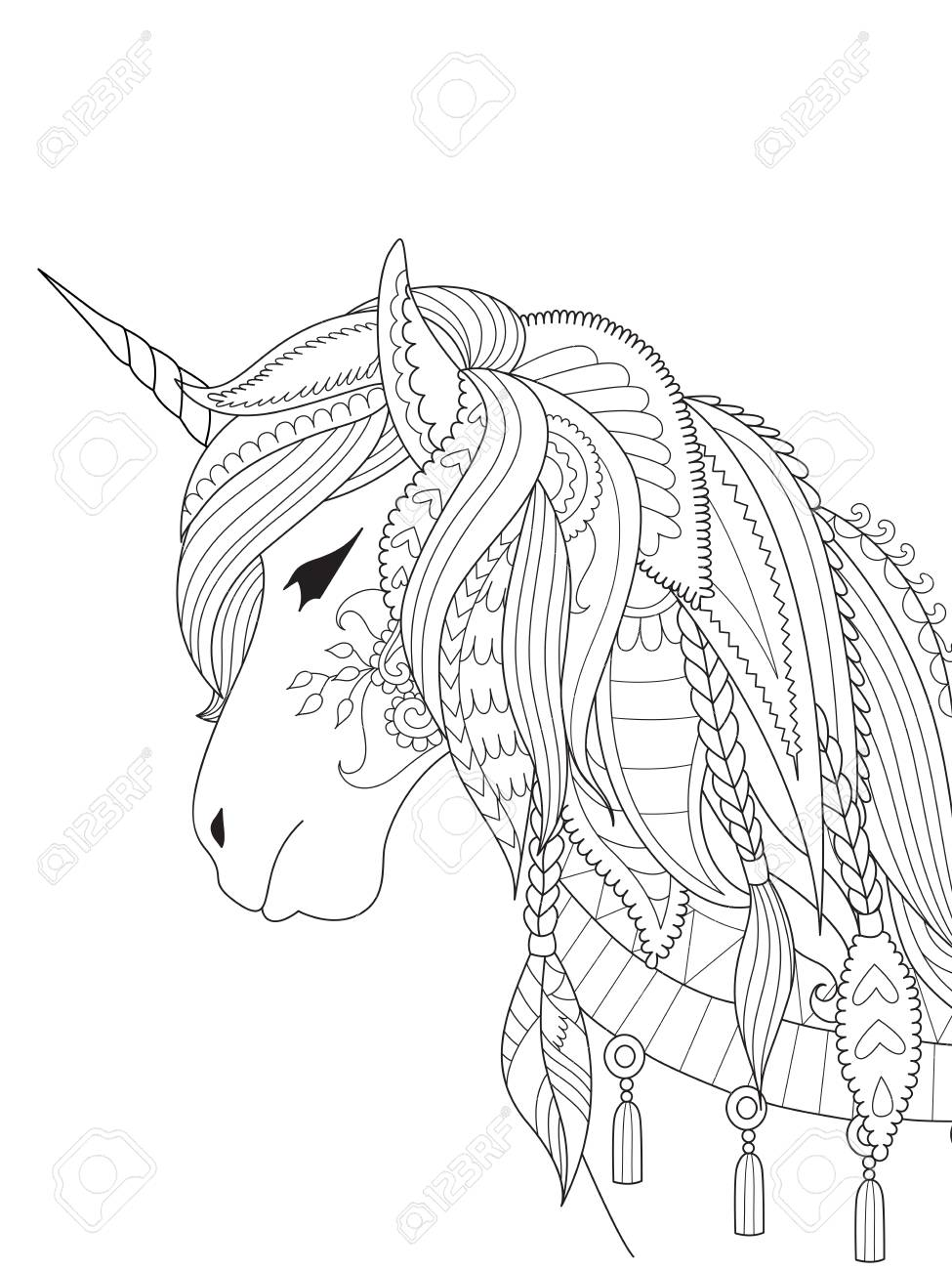 - Simple Line Art Of Unicorn For Design Element And Coloring Book