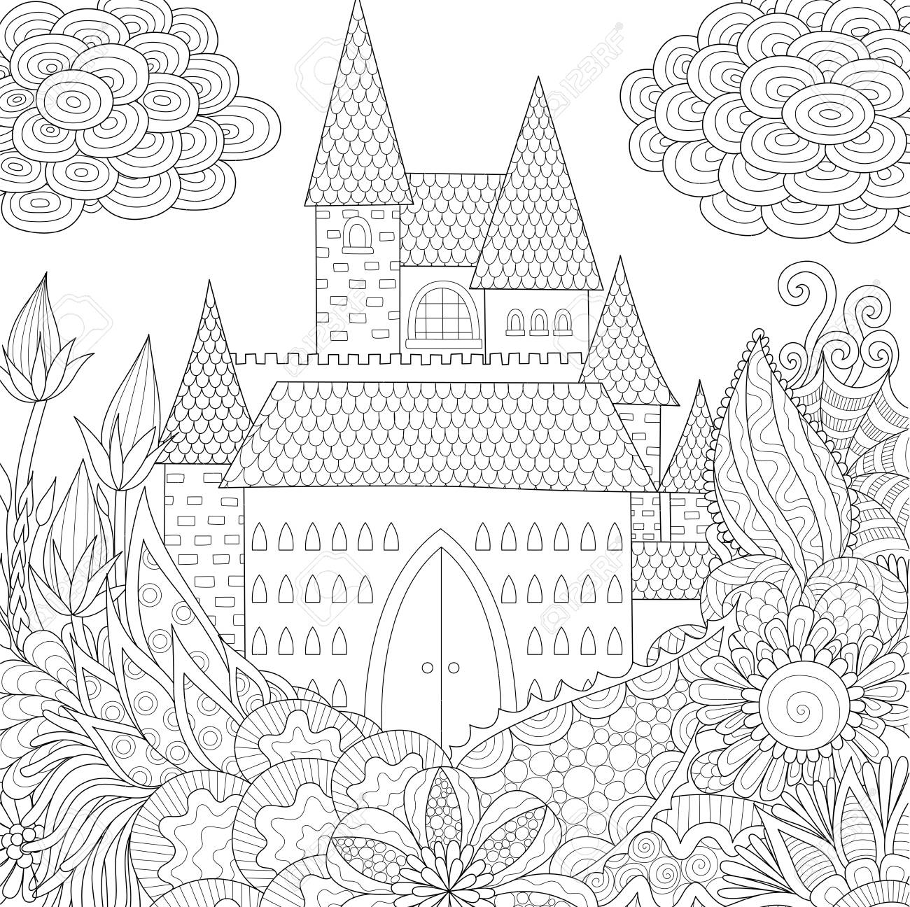 Line art design of jungle and castle coloring Book for adults...