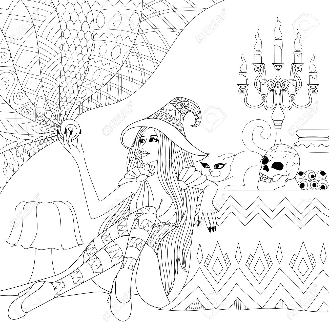 Colouring Pages Coloring Book For Adults Halloween Girl Or Royalty Free Cliparts Vectors And Stock Illustration Image 108275147