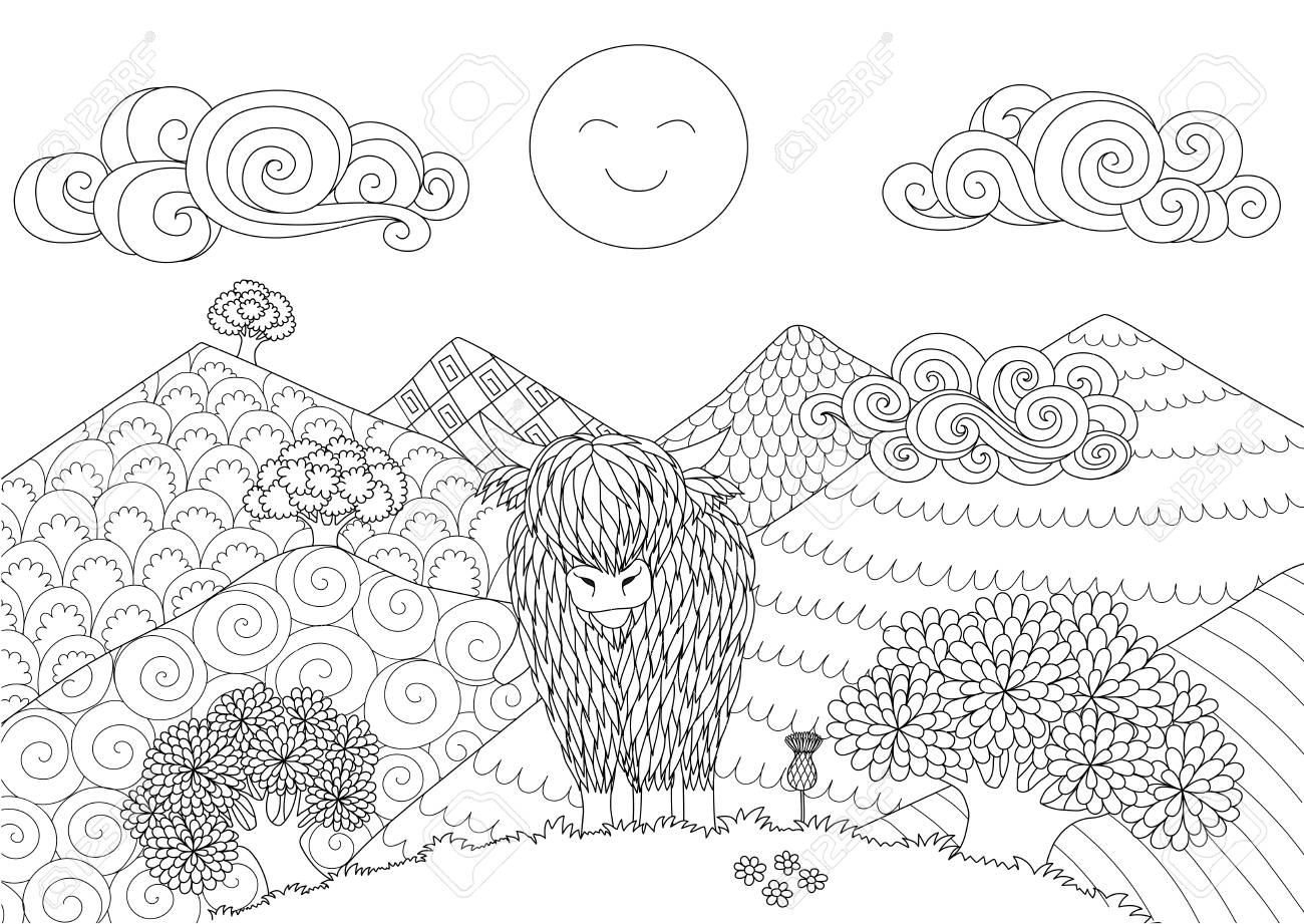 Cute Highland cow walking on the hill for design element and coloring book page for adult. Vector illustration - 109130864