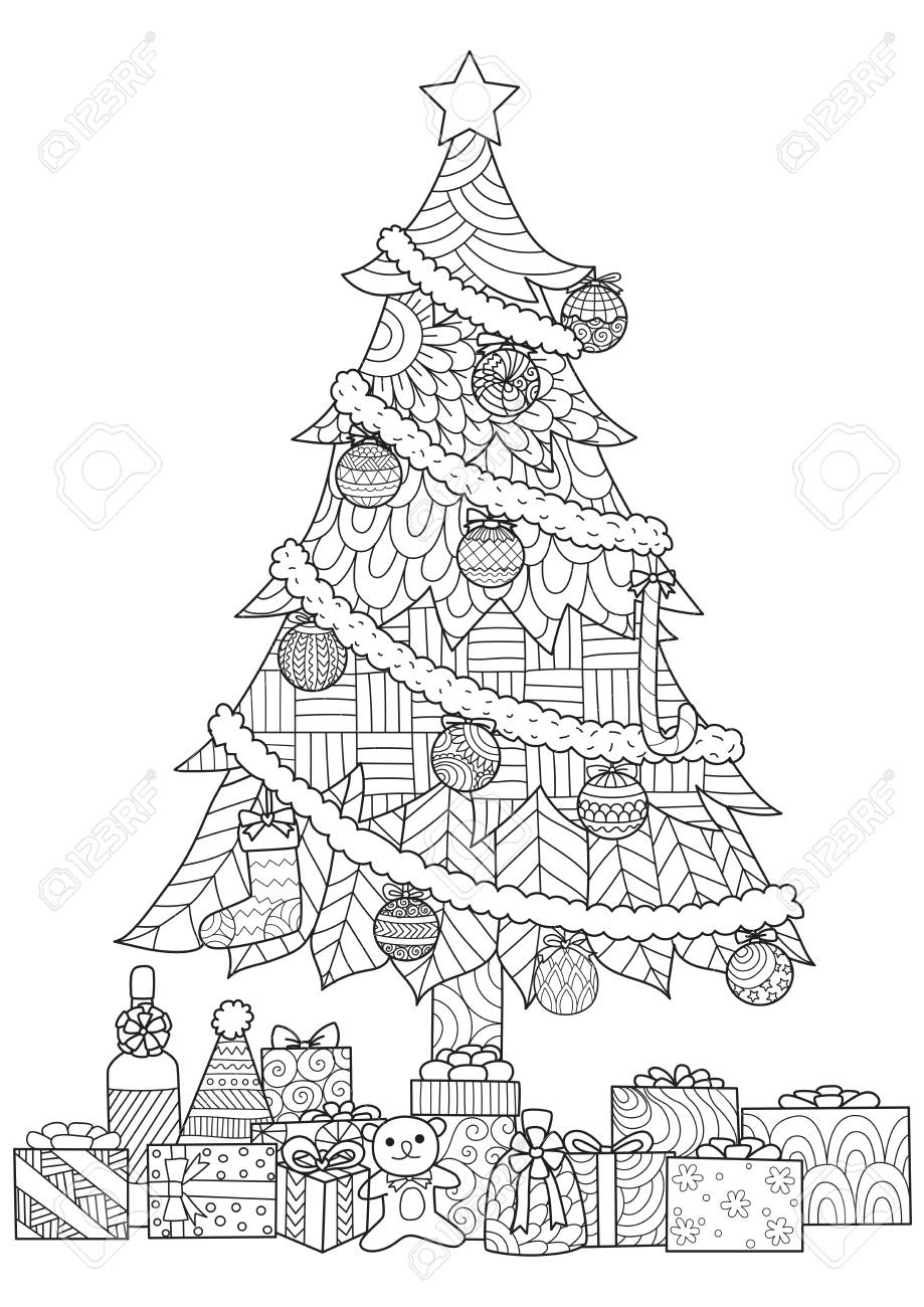 Drawings Of Christmas Ornaments.Christmas Tree Presents And Ornaments Drawing For Cards And Coloring