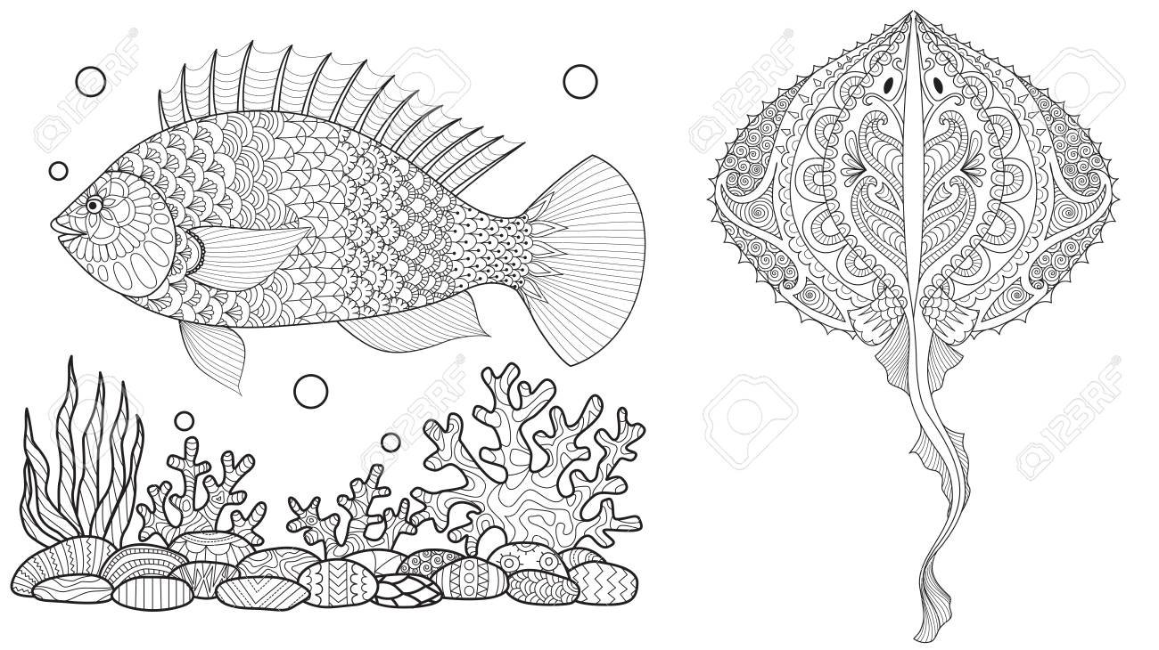 Coloring Page For Adult Colouring Book. Underwater World With ...