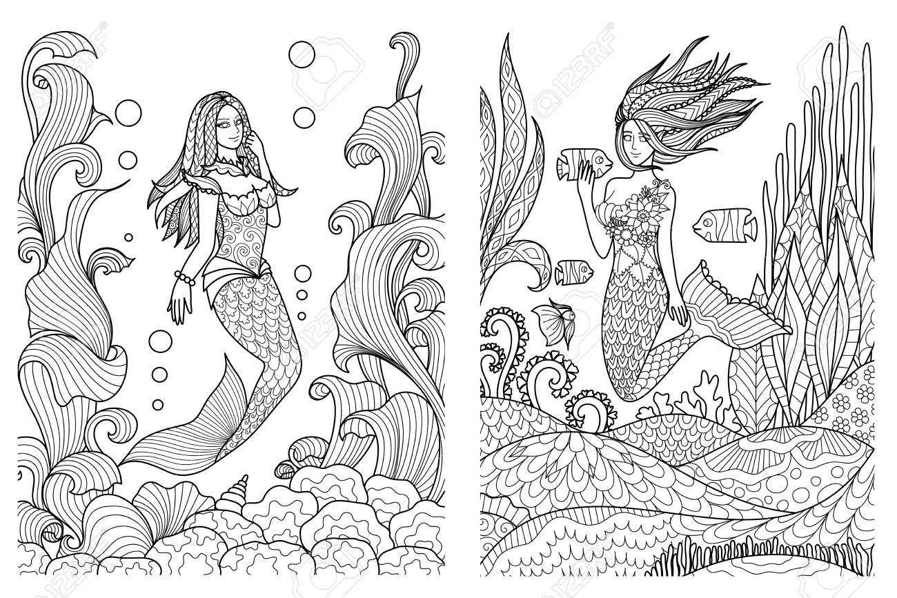 Beautiful Mermaids Swimming Under The Sea Setfor Adult Coloring Book ...