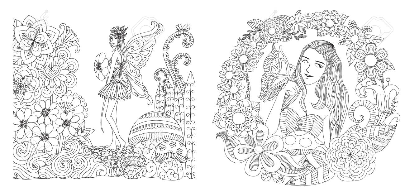 Fairy girls in garden collection for adult coloring page, printing..