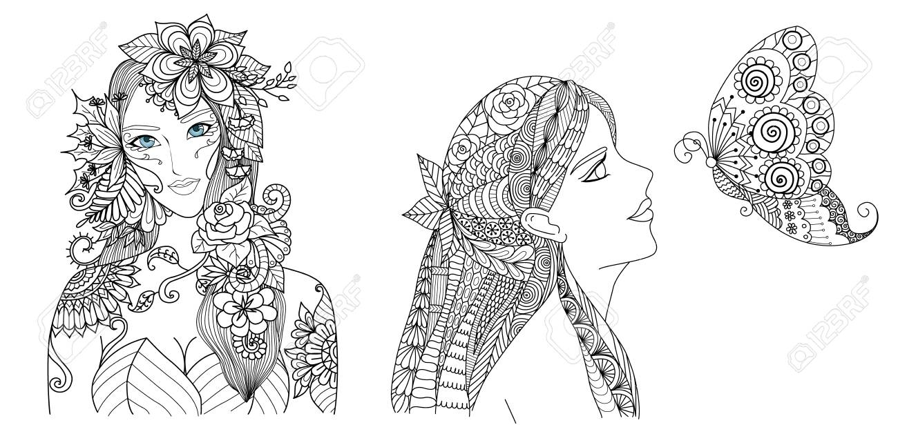 Beautiful fairy girl with flowers and butterfly collection for..