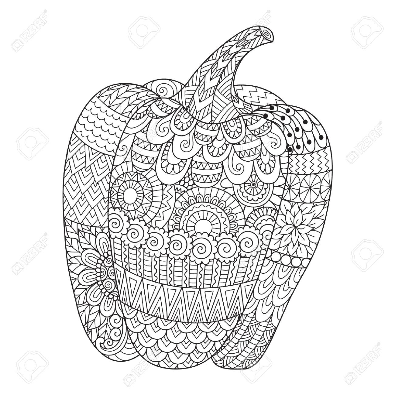 - Line Art Design Of Sweet Pepper For Printing On Stuffs And Adult