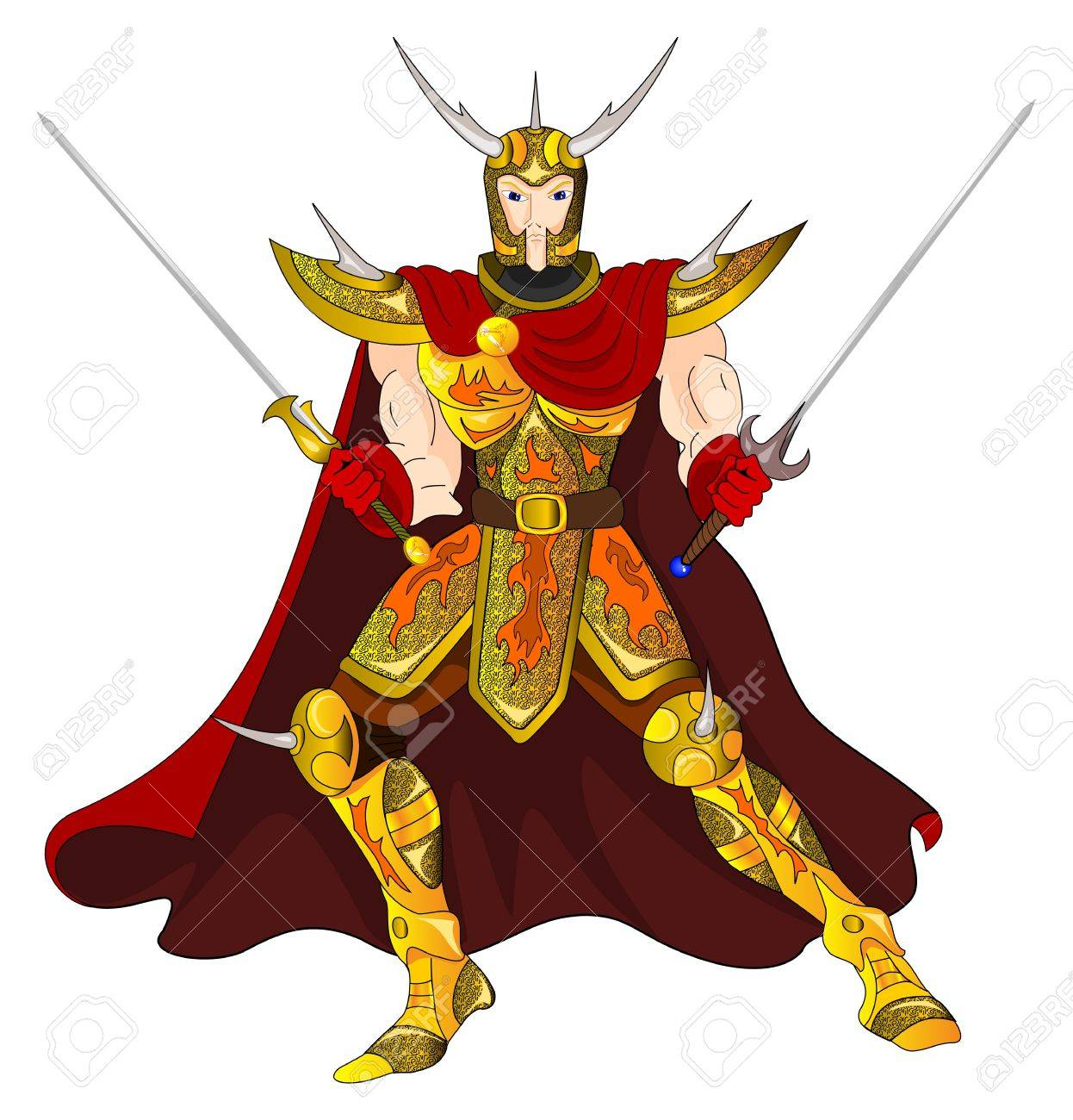 Gold Warrior with two-handed swords - 12804771