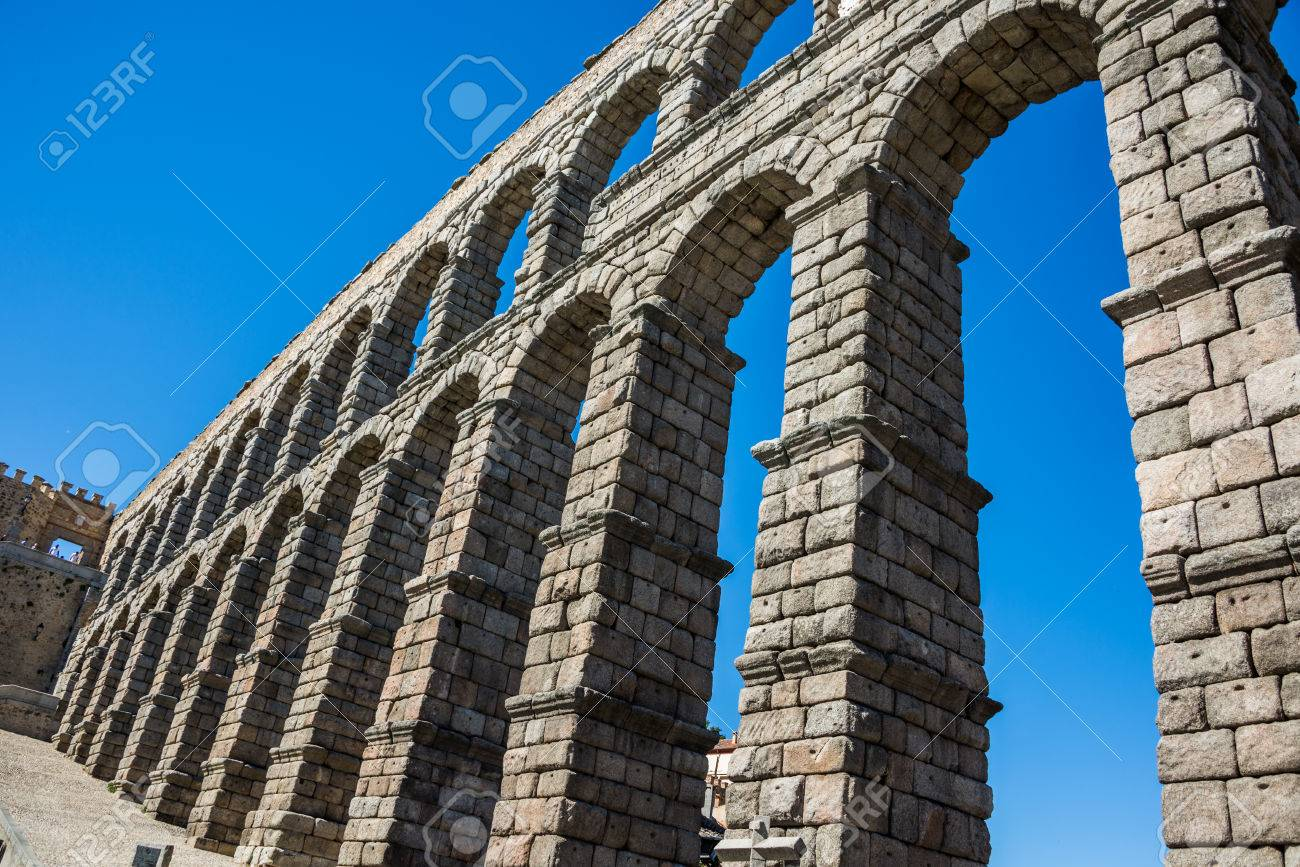 antique roman aqueduct in Segovia, Castilla y Leon, Spain - 68016673