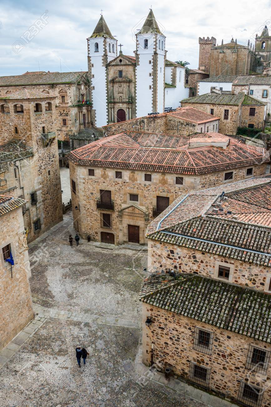inside caceres city by day, Extremadura, Spain. - 88656058