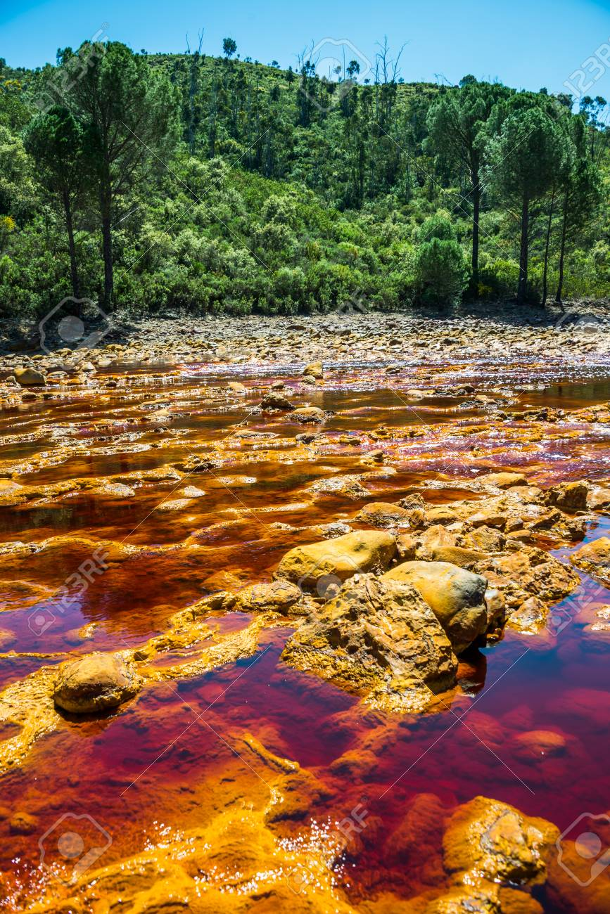 Rio Tinto's water in the foreground, Andalusia, Spain. - 92508863