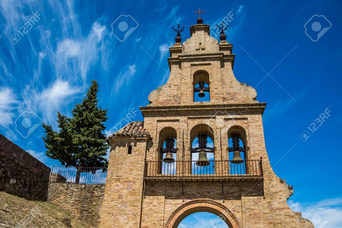 portico of the Aracena's Prioral church, Huelva, Andalusia, Spain. - 92528975