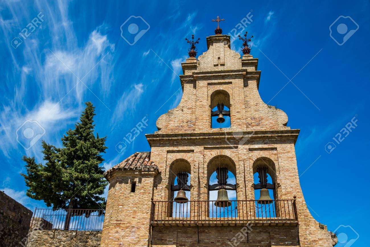 portico of the Aracena's Prioral church, Huelva, Andalusia, Spain. - 92353130