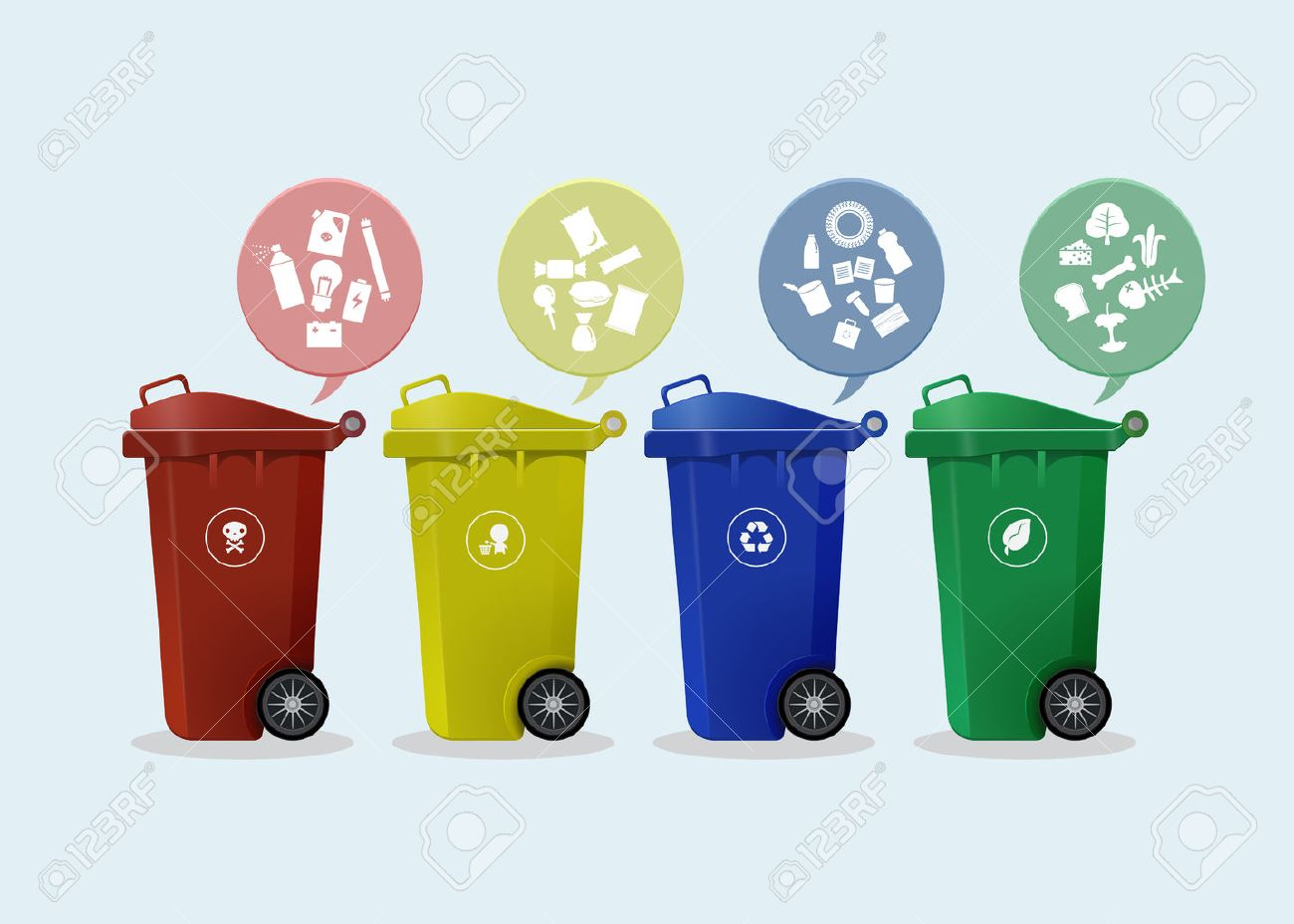 Different Colored wheelie bins set with waste icon, illustration of waste management concept - 31402178