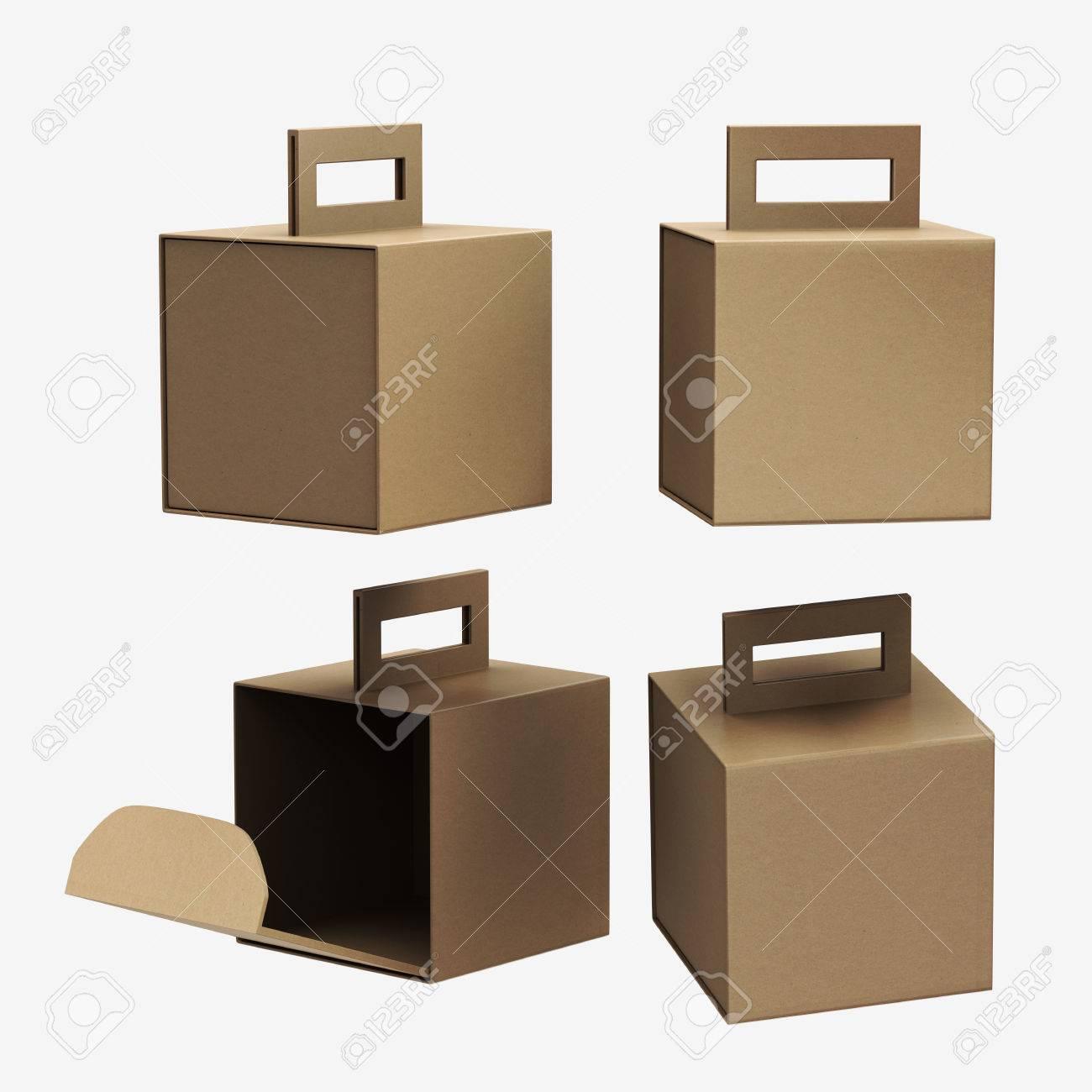 Kraft paper carton box with handle