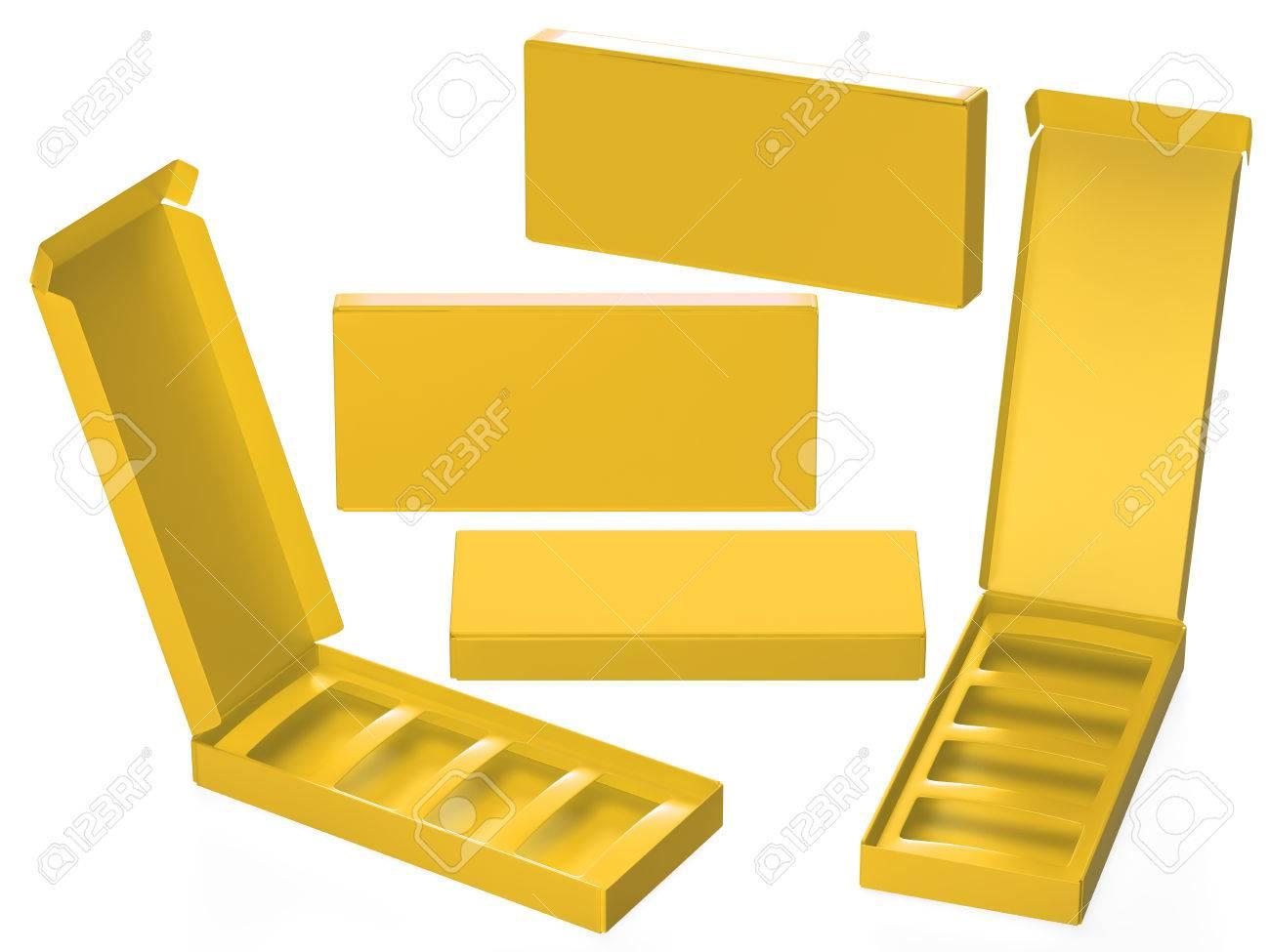 Caja De Cartón De Papel Amarillo Con El Divisor, Incluido Saturación ...
