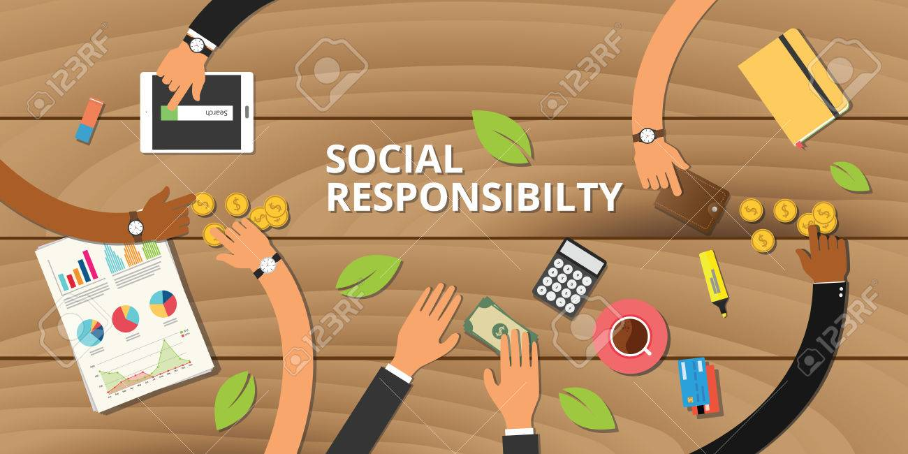 customer business social responsibility concept team work together vector customer business social responsibility concept team work together